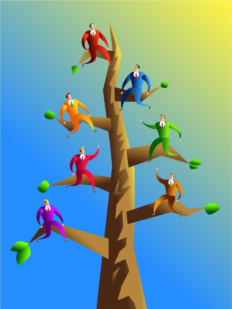 A tall tree with seven branches, each with a man in a colorful suit, each a different color..